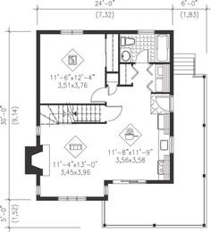 House Plan 49831 - Country, Narrow Lot Style House Plan with 1221 Sq Ft, 3 Bed, 1 Bath Guest House Plans, Cabin Plans, Small House Plans, Cottage House Plans, Cottage Homes, Coastal Cottage, Drummond House Plans, Diy Cabin, Shed To Tiny House