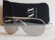edeca804dc4 Armani Exchange Sunglasses aviator white rim metal frame with carry bag