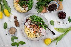 Frühlingskräuter Nudelbowl Feta, Kraut, Table Decorations, Gluten Free Pasta, Green Peas, Fresh, Recipes, Dinner Table Decorations