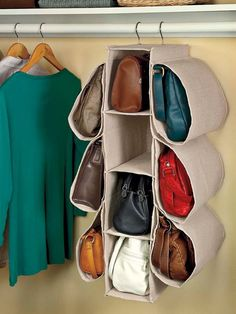 Keep your purses easy to find and protected from dust and scuffs in this Hanging Closet Accessory Organizer. It slips over a closet rod and holds up to 10 handbags.