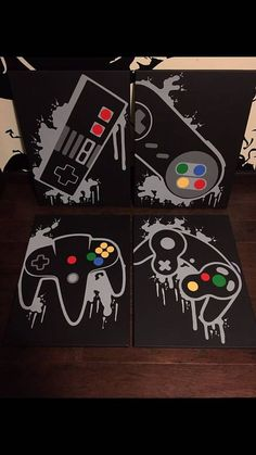 Darth Vader Discover Nintendo Four Piece Video Game Controller Paintings Set Video Game Art Hand Painted Custom Colors Custom Wall Art Video Game Decor Video Game Decor, Video Game Rooms, Video Game Art, Set Video, Video Game Bedroom, Video Game Crafts, Deco Gamer, Game Room Design, Gamer Room