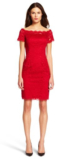Off the Shoulder Lace Sheath Dress - Adrianna Papell