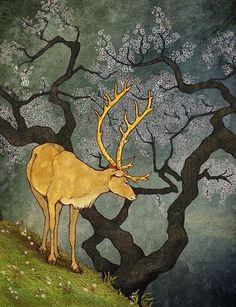 **The Ceryneian Hind - by BreeAnn Veenstra The Ceryneian Hind was one of the most cherished companions of the Greek goddess Artemis. Though the massive deer was female, she had golden antlers and was rumored to be faster than a speeding arrow.