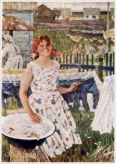"Alex Krasnov (Russia, 1923-1998) ""Spring Has Come"" 1963 «Впечатления дороже знаний...» - Прачка в живописи... 12"