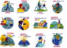 I did this fun calendar for Sjees magazine/Ons Brabant. Thanks too: Sunshine & Apples for the art direction. Cool Calendars, Art Direction, Apples, Evans, Disney Characters, Fictional Characters, Sunshine, Bicycle, Thankful
