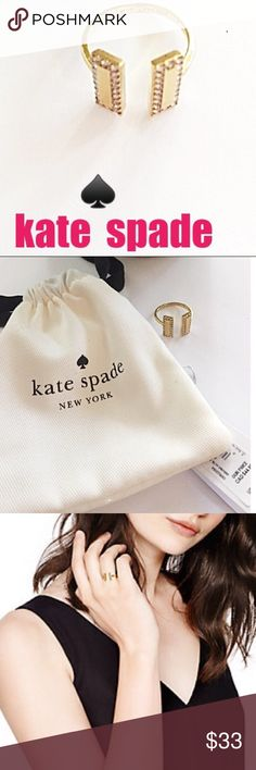 """kate spade Raising The Bar Ring Gold/Clear Bling New With Tags kate spade New York """"Raising The Bar"""" Gold/Clear Bling Adjustable Ring. Classy and elegant,  this ring can be worn with anything to make a fashionable statement. Comes with kate spade ♠️ ring gift bag, ready for gift giving! kate spade Jewelry Rings"""