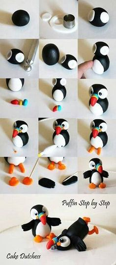 Puffin Tutorial for Fondant by Cake Dutchess (Also would work for polymer clay)(Diy Step Dad) Easy Polymer Clay, Polymer Clay Figures, Polymer Clay Animals, Fondant Figures, Fimo Clay, Polymer Clay Projects, Polymer Clay Charms, Polymer Clay Creations, Clay Crafts