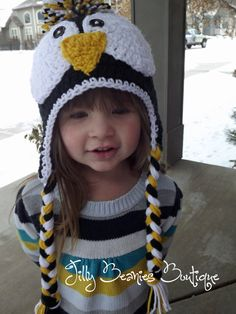 Penquin Beanie Crochet Hat Black Yellow by JillyBeaniesBoutique