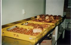 Freshly baked bread from Adamson's Cake kitchen, Invercargill NZ. (photo taken Freshly Baked, Bread Baking, Bakery, Kitchen, Bread Making, Cooking, Bakery Shops, Home Kitchens, Kitchens