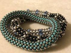 Beadweaving Basics: Tubular Chenille Stitch With Border - new season bijouterie Lace Bracelet, Bangle Bracelets, Beaded Necklace, Bangles, Beaded Bead, Silver Bracelets, Silver Jewelry, Beaded Jewelry Designs, Seed Bead Jewelry