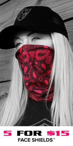 Multi-Use Face Shields™ for Women can be worn ways. Motorcycle Mask, Motorcycle Outfit, Girl Photo Poses, Girl Photos, Chicano, Boyish Girl, Biker Gear, Bandana Print, Biker Chick