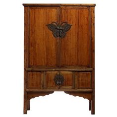 Check out this item at One Kings Lane! Light Brown Butterfly Armoire