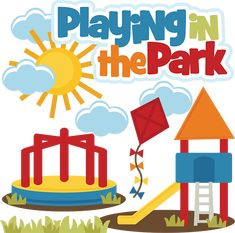 Playing In The Park SVG files playground svg file kite svg file merry go round svg file free svg cuts