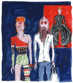 The Unknown Hipster and Ziggy Stardust Hipster Illustration, Illustration Sketches, Fashion Illustrations, Jean Philippe, V & A Museum, Ziggy Stardust, Fashion Sketchbook, The V&a, Album Covers