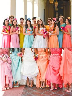 Can't Get Enough Color Wedding Pastel Bridesmaid Dresses, Burgundy Bridesmaid, Bridesmaid Flowers, Wedding Bridesmaids, Wedding Dresses, Wedding Stuff, Dream Wedding, Wedding Ideas, Groom And Groomsmen Looks