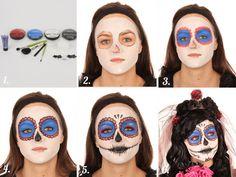 Maquillage femme Dia de los muertos Halloween 2017, Halloween Make Up, Halloween Party, Halloween Costumes, Halloween Face Makeup, Skull Face Paint, Dead Makeup, Day Of The Dead, Sugar Skull