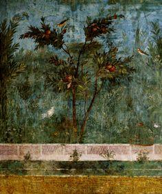 Roman fresco detail with blackbird and fruit Villa of Livia