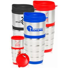 stainless steel travel mug with choice of color on lid, base, and interior lining. Mug dimensions are 3 wide x 7 high x 3 D. Custom Travel Mugs, Custom Printed Mugs, Ny Usa, Promotional Events, Porcelain Mugs, Stainless Steel Travel Mug, Tumblers, Giveaway, Company Logo