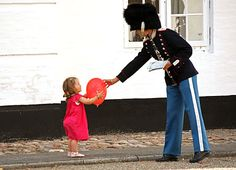 Princess Isabella of Denmark and one of the Royal Life Guards- How Cute!