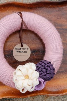 Yarn Wrapped Wreath with Dimensional Felt Flowers, Pink, Cream, Purple, Lilac  8 Inch Home Decor by Catshy Crafts on Etsy, $59.50 CAD