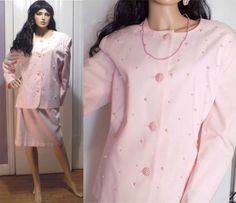 NWT- Vintage U SUITS Pink Pearl Embellished Church Wedding Dinner Skirt Suit-18M #USUITS