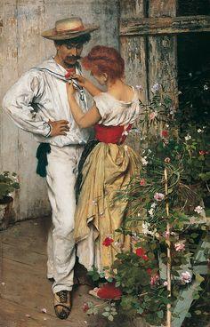 La mia rossa - 1888 by Ettore Tito (Italian 1859-1941)....A gondolier, I think, and his lady-love...interesting shoes....