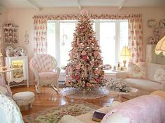 My Shabby Pink Christmas, I love pink and love decorating for Christmas. I am also mosaic artist so you can see several of my pieces in my pictures. I create in the Shabby Chic style. , My Living room. Pink Christmas Decorations, Whimsical Christmas, Shabby Chic Christmas, Victorian Christmas, Vintage Christmas, Holiday Decor, Vintage Santas, Vintage Ornaments, Shabby Chic Pink