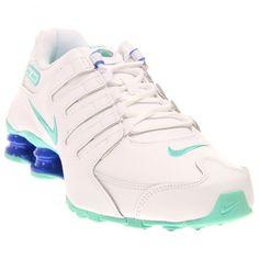 Nike Women's Shox NZ White/Hyper Turq/Racer Blue Running Shoe 7.5 Women US