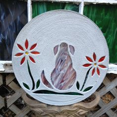 """Mixed Color Shaggy Dog with Red Flowers Stepping Stone BIG 18"""" Concrete Stained Glass Mosaic Yard Art Garden Path Pet Memorial Patio Pool by SteppingStoneYardArt on Etsy"""