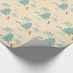 Festive JOY | Named  Turquoise Christmas Gift Wrap - Xmas ChristmasEve Christmas Eve Christmas merry xmas family kids gifts holidays Santa