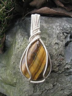 Wire Wrapped Tigers Eye Pendant in Sterling Silver by Gemmy Jen