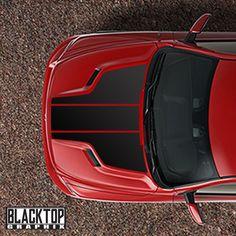 RAM 1500 Sport Hood 3pc Decal Stripe Set Plain Racing Stripe HEMI 5.7 MOPAR #BLACKTOPGRAPHIX
