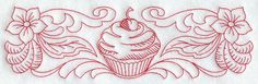 Cherry Cupcake and Flowers Border (Redwork) design (F7225) from www.Emblibrary.com