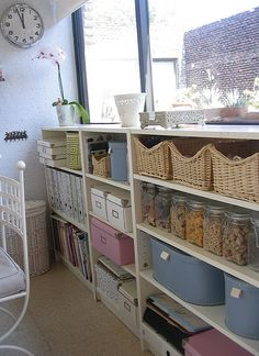These shelves look like they are the perfect size to fit under the window in my craft room. The shelves would go great behind my craft table. Sewing Spaces, Sewing Rooms, Craft Room Storage, Craft Organization, Craft Desk, Storage Ideas, Space Crafts, Home Crafts, Craft Space