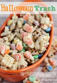 Halloween-Trash....I always fix goodie bags for several of the special kids in the area and this will be great.  I have also seen red & green candy corn at Christmas  and that would make a good treat for parties and gift bags then!!  Love giving homemade goodies