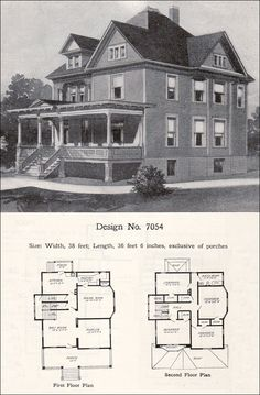 1908 William A. Radford - Plan No. 7054 - Queen Anne Free Classic