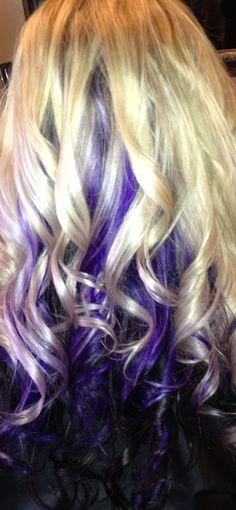 dark brown hair with purple peekaboos | Deep brownish-plum, purple, and blonde | Hair
