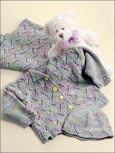 Knitting - Patterns for Children & Babies - Gift Set Patterns - Diagonal Eyelets Baby Set Free Baby Sweater Knitting Patterns, Baby Hats Knitting, Knitting For Kids, Crochet For Kids, Baby Patterns, Knitting Yarn, Knit Patterns, Free Knitting, Crochet Baby