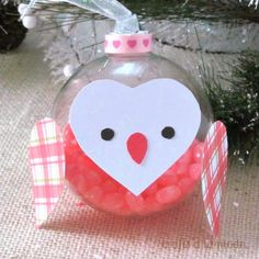 Christmas owl glass ball ornament with jellybeans: Crafts A La Monde