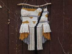 Woven Wall Hanging // Weaving // Gold, Cream, Black and Gray Tapestry Art