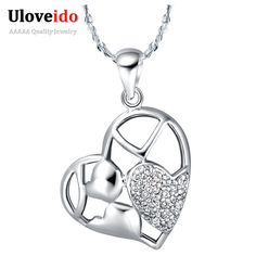 Find More Chain Necklaces Information about New Necklaces For Baby Girls 925 Sterling Silver Jewelry Crystal Style Necklaces Heart Shape Collar De Plata Ulove N582,High Quality necklace crochet,China necklaces for men silver Suppliers, Cheap necklace acrylic from Ulovestore Fashion Jewelry on Aliexpress.com