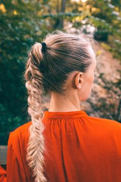 Hiking outfit, hike, braid, fishtail braid, ponytail, long hair, long blonde hair, blogger, red top, forest, dreaming, adventure, outfit, hike, river, portrait, autumn, lightroom, scenery, view, beautiful pictures, beautiful nature