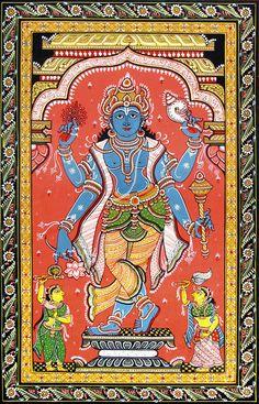 Vishnu (Orissa Pattachitra Painting on Canvas - Unframed) Mysore Painting, Kalamkari Painting, Krishna Painting, Madhubani Painting, Mughal Paintings, Indian Art Paintings, Indian Artwork, Indian Folk Art, Ganesha Art