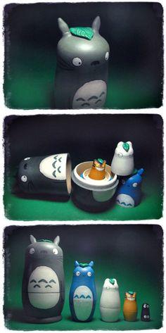 Totoro nesting dolls!! SO CUTE!