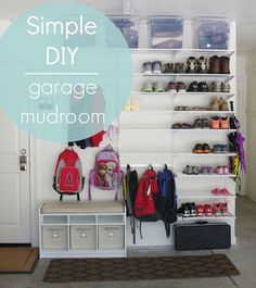 I love this idea for an organized garage! If you don't have space for a mudroom area inside your home, this simple DIY will help you create one in your garage! Garage Organization, Garage Storage, Diy Storage, Organized Garage, Storage Shelves, Organizing Ideas, Garage Shelving, Organizing Kids Shoes, Cool Storage Ideas