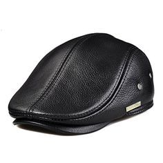 LETHMIK Flat Cap Cabby Hat Genuine Leather Vintage Newsbo... Leather Hats, Lambskin Leather, Cowhide Leather, Driving Cap, Dope Hats, Flat Hats, Newsboy Cap, Timberland Mens, Hats For Men