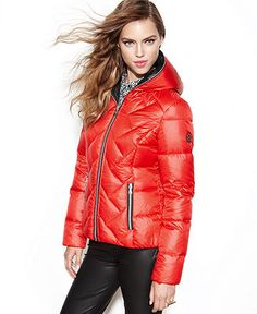 GUESS Coat, Hooded Quilted Puffer - Coats - Women - Macy's