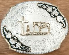 Montana Silversmiths Antiqued Silver Leaves with Gold Praying Cowboy Belt Buckle | Cavender's