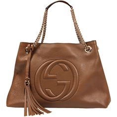 Gucci Beige Leather Large Soho Bag ($1,675) ❤ liked on Polyvore featuring bags, handbags, gucci, bolsas, purses, beige leather purse, man bag, brown handbags, brown purse and beige purse