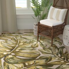 Bay Isle Home Springwater Palms Hand-Tufted Wool Green Area Rug Rug Size: Runner x Beige Area Rugs, Hand Palm, Tufted, Rugs, Tropical Decor, Large Scale Floral, Green Area Rugs, Tropical Rugs, Rugs In Living Room